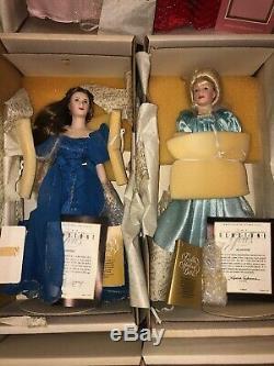 13 Franklin Heirloom Porcelain Dolls All 12 Gemstone Girls With COA & Necklaces