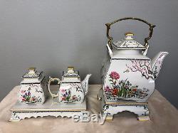 1986 Franklin Mint Tea Pot Set Birds Flowers Orient Porcelain Teapot Mint
