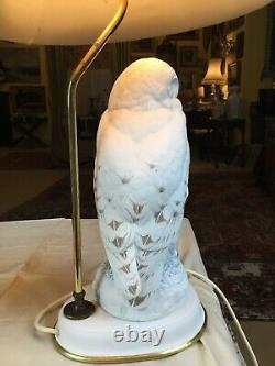 1987 Porcelain Franklin Mint Snowy Owl Table Lamp 19 With Tatty Shade 24