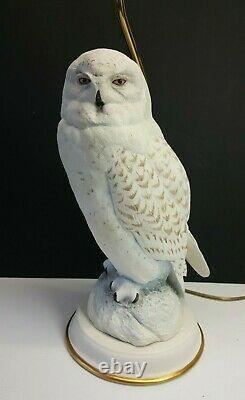 1987 Snowy Owl (Female) Fine Porcelain Lamp by Raymond Watson The Franklin Mint