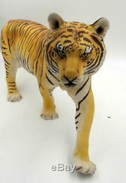 1988 Franklin Mint Porcelain Bengal Tiger Statue On The Prowl With Wooden Base