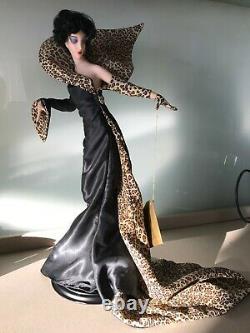 1989 Franklin Mint Erte Panther Lady in Black Art Deco Porcelain Doll. Rare