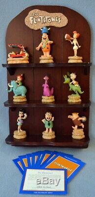 1994 The Franklin Mint The Flintstones 9 Figurine Set With Display, COA, & Boxes