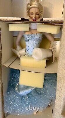 1997 Franklin Mint Marilyn Monroe Glittery Blue Dress Gown Porcelain Doll NIB