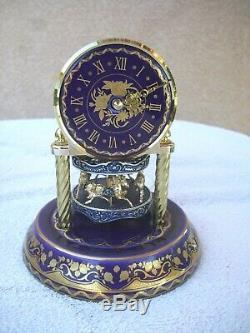 4 Original Work of Art Anniversary Porcelain Carousel Clocks Franklin Mint