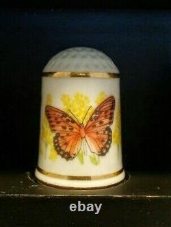 50 Franklin Mint Butterfly State thimble collection Helen Hall with display