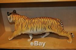Awesome Franklin Mint Large Bengal Tiger On the Prowl Porcelain with Stand Box