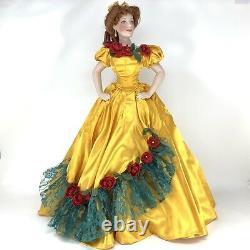 Belle Watling, Gone with the Wind Franklin Mint Porcelain Gold Dress Doll +Paper