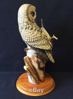 Chouette porcelaine fine peinte main The great grey owl The Franklin Mint