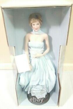 Diana Princess of Wales Porcelain Doll Franklin Mint Blue Chiffon Gown