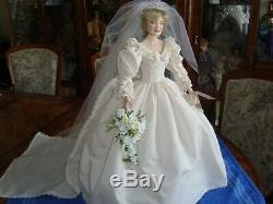 Doll porcelain, pop Franklin Mint, poupée, künstlerpuppe Diana Bride