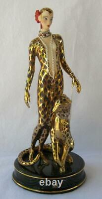 Exquisite Erte LEOPARD Art Deco Franklin Mint Limited Edition Porcelain Figurine