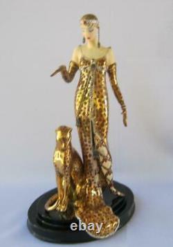 Exquisite Erte OCELOT Art Deco Franklin Mint Limited Edition Porcelain Figurine