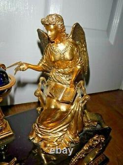 Exquisite Franklin Mint Angel of the New Age Porcelain & Gilt Mantle Clock RARE