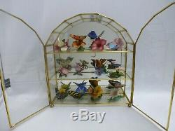 FRANKLIN MINT 12 Porcelain Butterflies of the World with Glass Center Display case