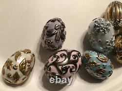 Fabergé The Franklin Mint (TFM) Winter Egg Basket, 9 Eggs with COA Porcelain