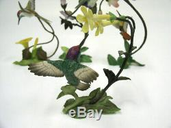 Four 1988 Franklin Mint Porcelain On Bronze Hummingbird Figurines