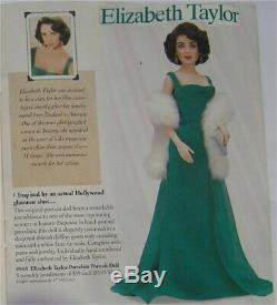 Franklin Heirloom Doll Elizabeth Taylor Porcelain Emerald Green Dress NRFB