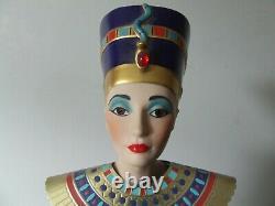 Franklin Heirloom Dolls Queen Nefertiti & Stand 22k Gold Detailing 60cm 1980s