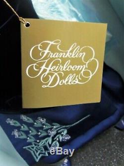 Franklin Mint 18 Porcelain, TITANIC ROSE Doll in Blue Velvet, Flying Scene MIB