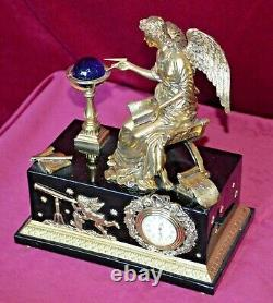 Franklin Mint Angel of the New Age Porcelain & Gilt Ormolu Mantle Clock Working