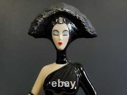 Franklin Mint Art Deco Lady w Dog Symphony in Black Porcelain Figurine No. A3004