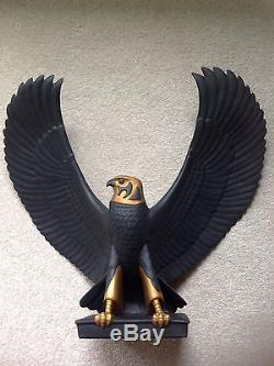 Franklin Mint Black Porcelain Egytian Falcon Of The Nile Statue