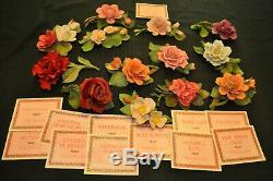 Franklin Mint Capodimonte Porcelain 12 Months of Roses whole set + one=13 piece