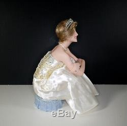 Franklin Mint Diana Portrait of a Princess Porcelain Doll Sitting on Blue Stool