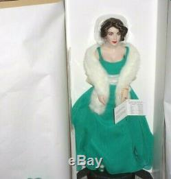 Franklin Mint ELIZABETH TAYLOR Green Dress Porcelain Portrait Doll Box COA
