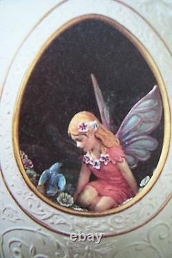 Franklin Mint Egg Secret Fairy Garden Porcelain 24k Accents 6 Nib $175 N 1999