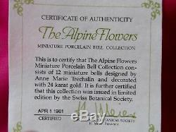 Franklin Mint Elevenalpine Flowers'' Miniature Porcelain Bell Collection/coa/ A