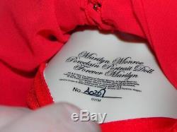 Franklin Mint FOREVER MARILYN Monroe Porcelain Portrait Doll Red Dress + Base