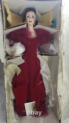 Franklin Mint G W Wind Scarlett Attendance Shame 22 Porcelain Doll Red Gown Vtg