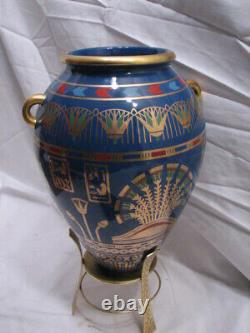 Franklin Mint Golden Vase of Bast Porcelain 23Kt Gold Decoration Egyptian Cat