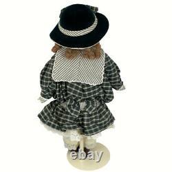 Franklin Mint Heirloom Doll Elise Coca Cola Porcelain Doll Girl Braids 1996
