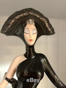 Franklin Mint House Of Erte Porcelain Figurine Symphony In Black Woman With Dog