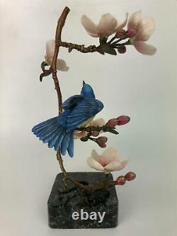 Franklin Mint Hummingbird Sweet Symphony Bronze & Porcelain Sculpture