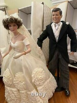 Franklin Mint JACKIE KENNEDY Wedding Dolls & JFK Porcelain 6 DOLLS LOT Mint