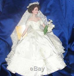 Franklin Mint Jackie Kennedy Bride Wedding Porceline Doll 17 Box + Shipper Coa