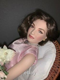 Franklin Mint Jackie Kennedy Portrait Porcelain Doll Lounging on Wicker Chair