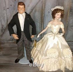 Franklin Mint John F Kennedy & Jacqueline Kennedy Heirloom Bride Groom Dolls