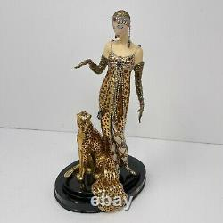 Franklin Mint LE A2305 House of Erte Porcelain OCELOT Lady 9 Figurine withCOA