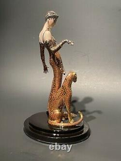 Franklin Mint LE House of Erte Porcelain OCELOT Lady & Cat 9 Figurine