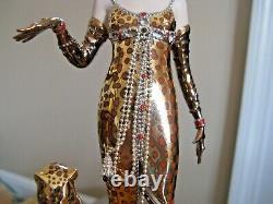 Franklin Mint LE M1790 House of Erte Porcelain OCELOT Lady & Cat 83/4 Figurine