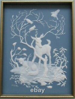 Franklin Mint Lot 4 Seasons Woodland Animals Procelain Parian Incolay Wall Art