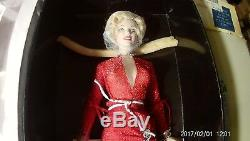 Franklin Mint Marilyn Monroe Porcelain Doll Red Dress- Rare- NIB