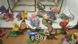 Franklin Mint Porcelain Butterflies of the World 14 with Display Case