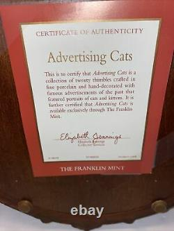 Franklin Mint Porcelain Cat Advertising Thimbles Display COMPLETE! 20 Cats 1992