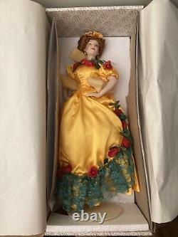 Franklin Mint Porcelain Doll Belle Watling Gone With The Wind with Gold Dress